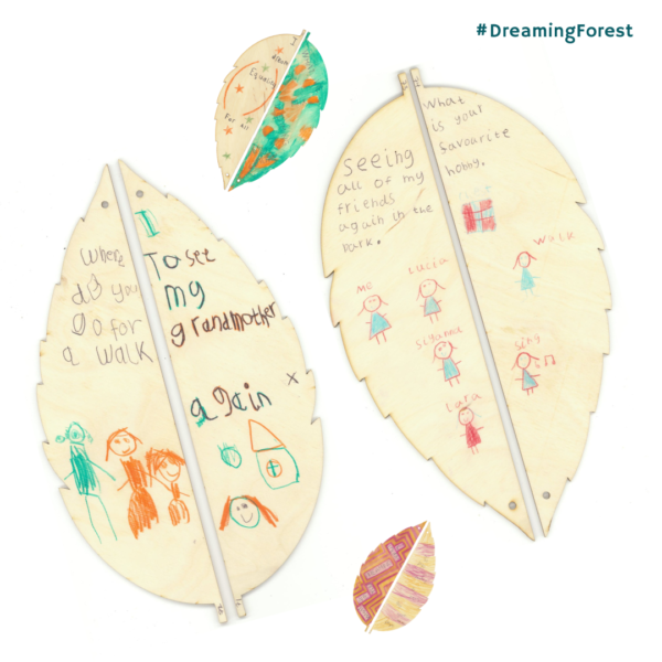 Dreaming Forest project decorated birch leaves